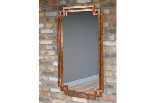 Industrial Distressed Metal Copper Finish Wall Hanging Mirror (DX6605) 116cm